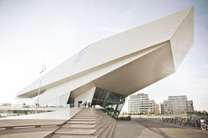 EYE-film museum on Amsterdam's waterfront, white modern building