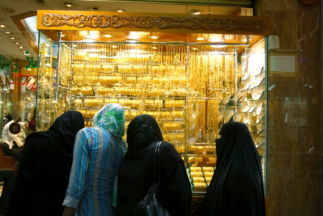 Shoppers browse for gold at Dubai Gold Souk