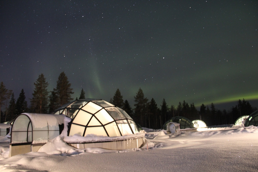 A glass igloo in Lapland