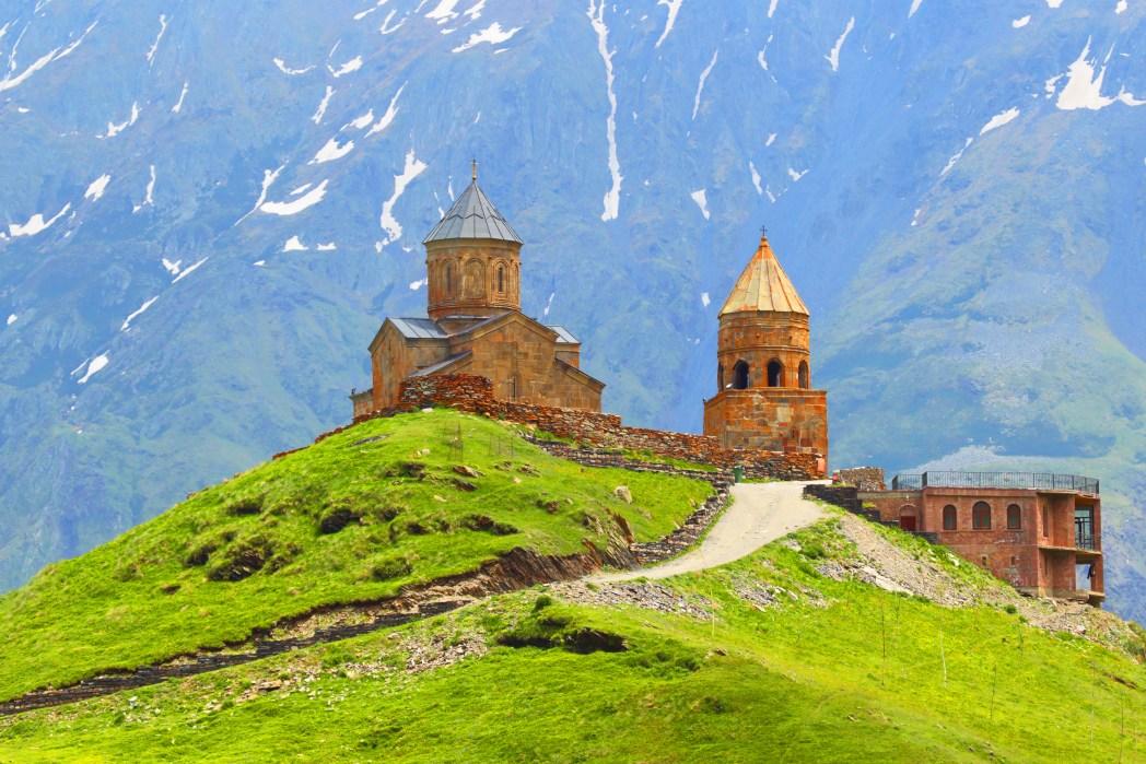Gergeti Trinity Church is in the beautiful region of Stepantsminda