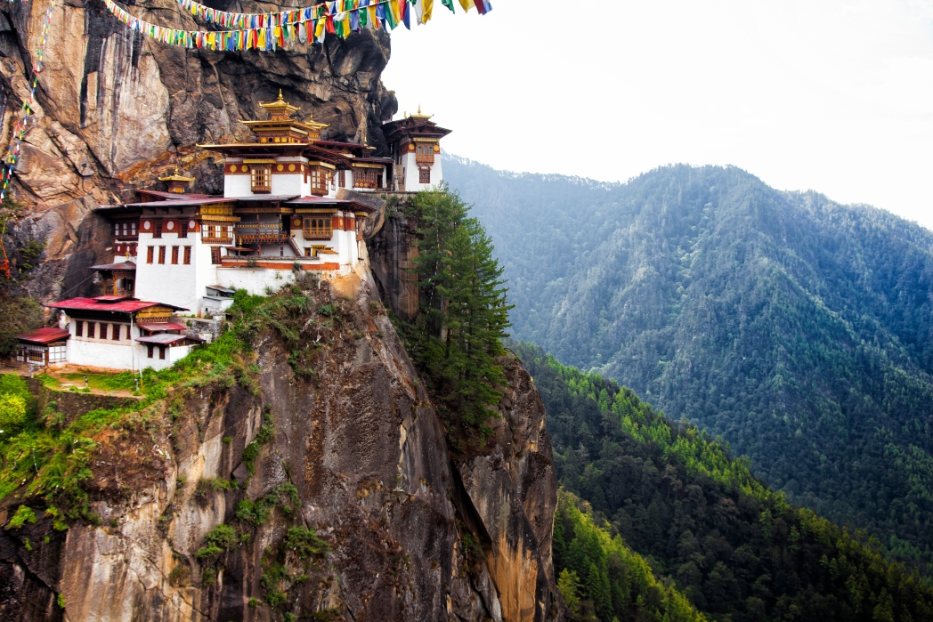 The Tiger's Nest temple is located in the cliffs at the upper Paro valley