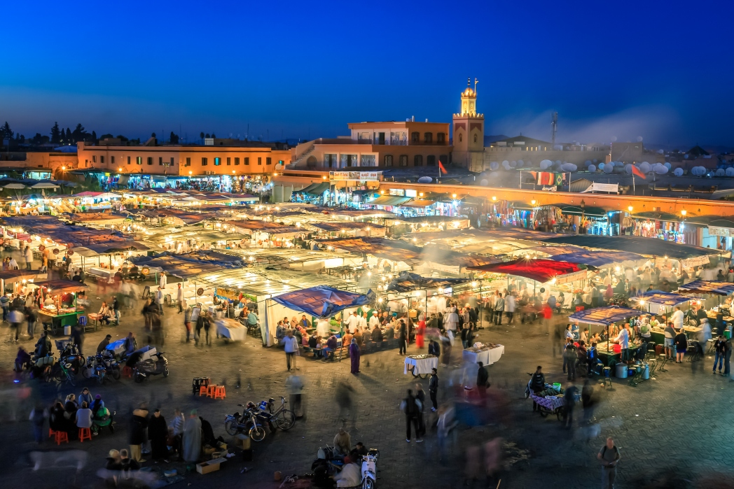 The Jemaa el-Fnaa market in Marrakech comes alive at night