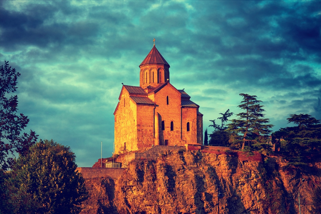 The Church of St Nicholas sits in the grounds of the Narikala Fortress