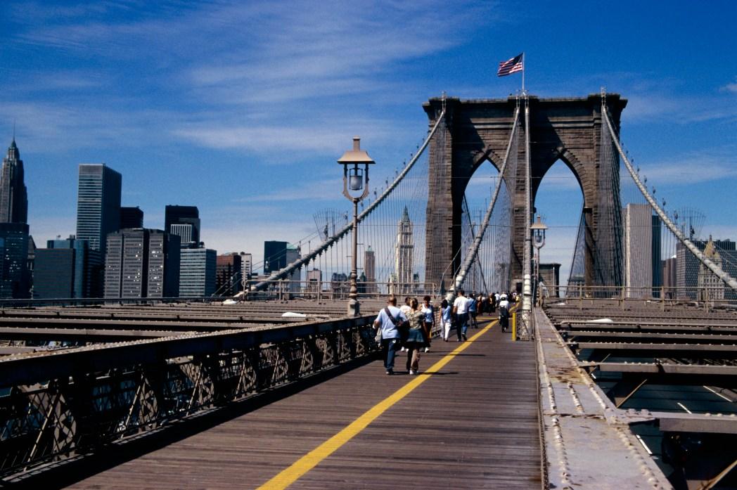 Walk over Brooklyn Bridge, New York