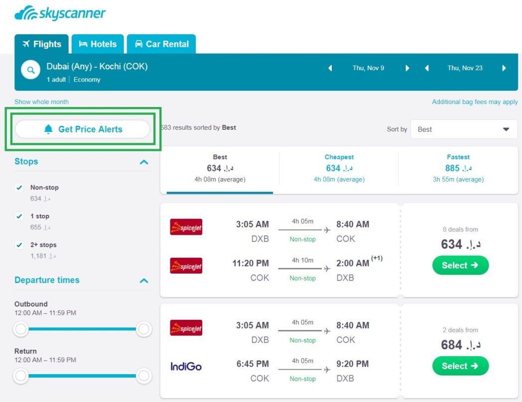 Sign up for price alerts to get alerts on cheap flights to India